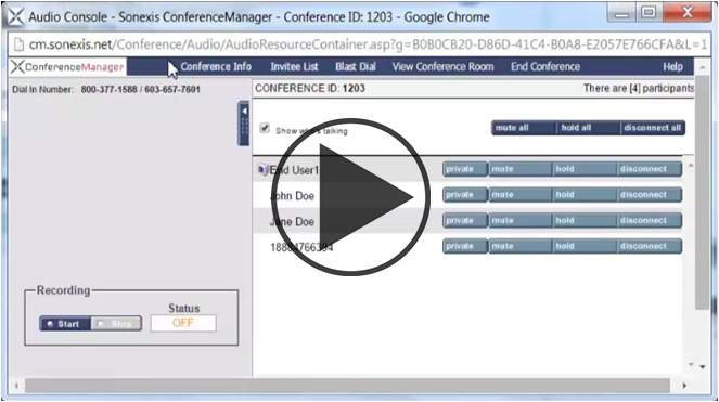 Sonexis ConferenceManager My Conferences Page